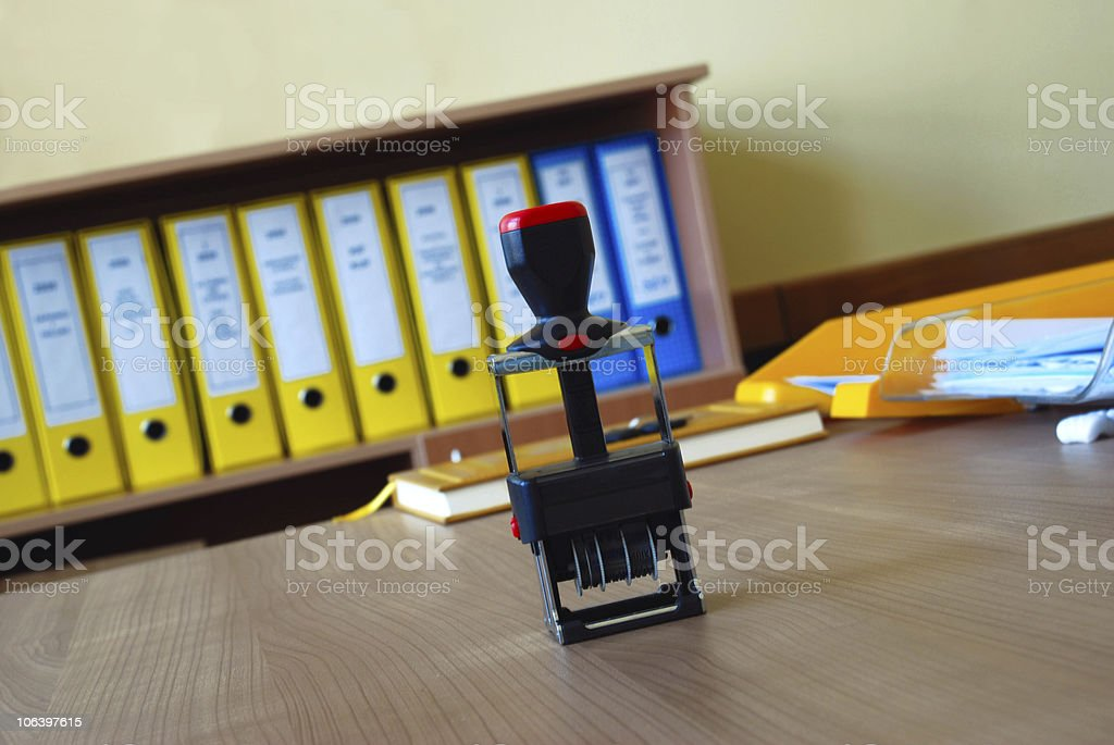 Black seal on office desk royalty-free stock photo