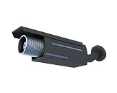 Black security camera on white background. 3d rendering