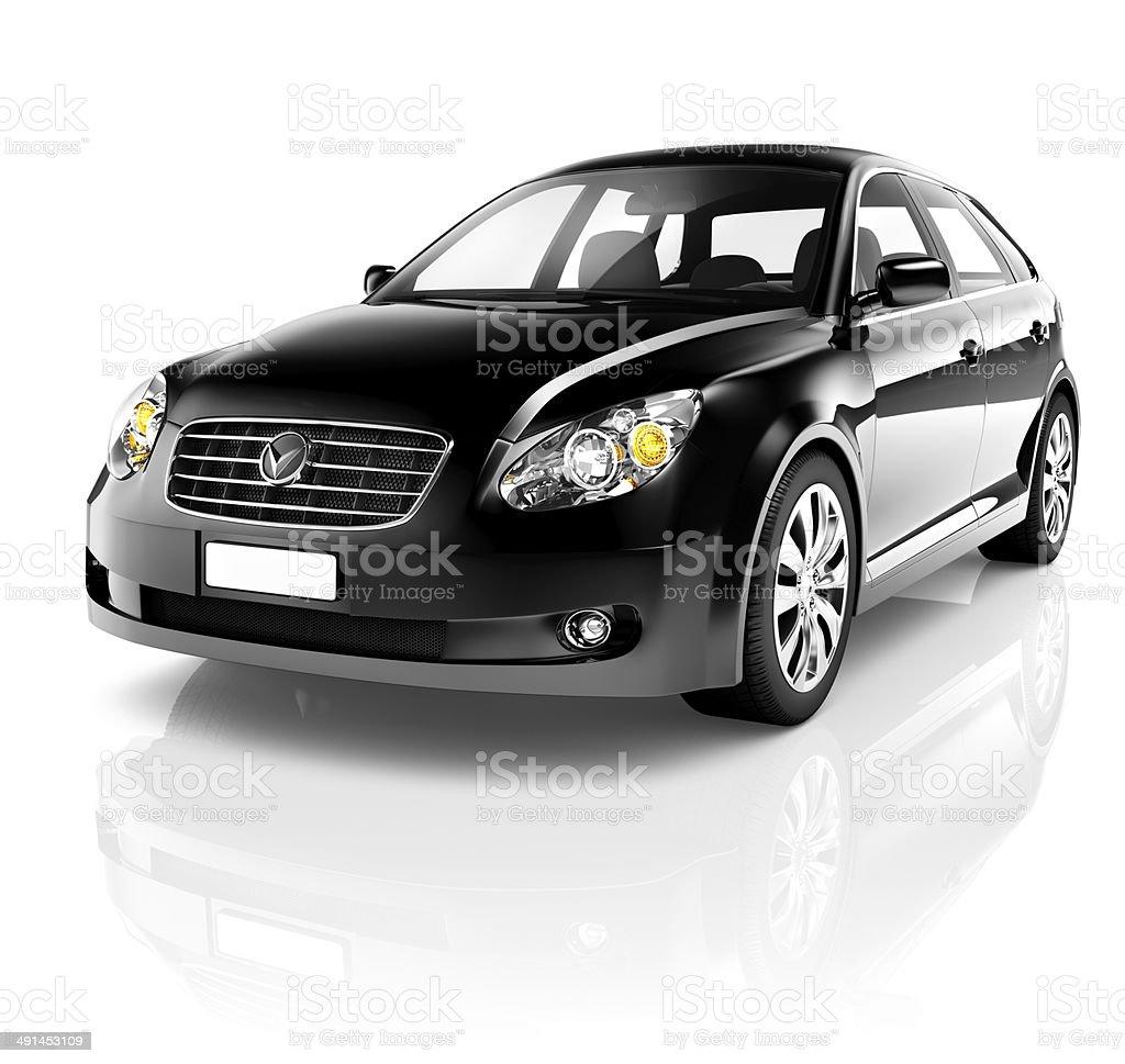 3D Black Sedan Car royalty-free stock photo