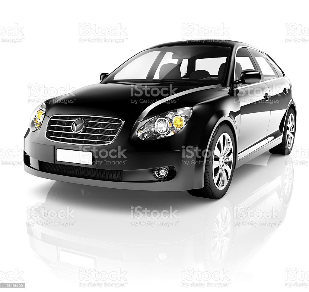 3D Black Sedan Car stock photo