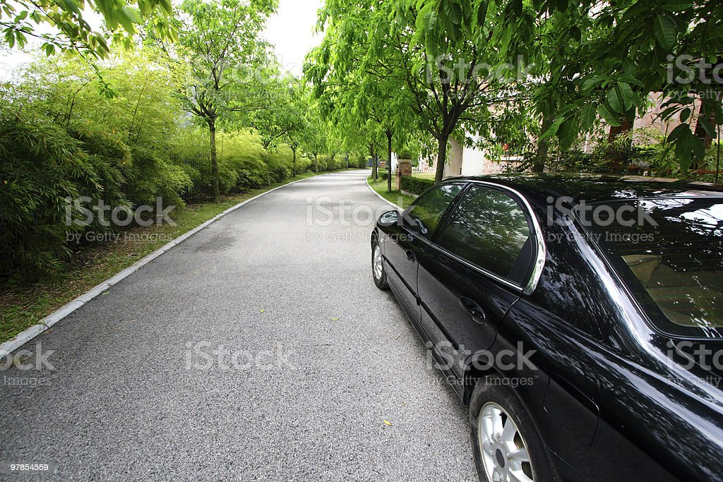 Black sedan stock photo