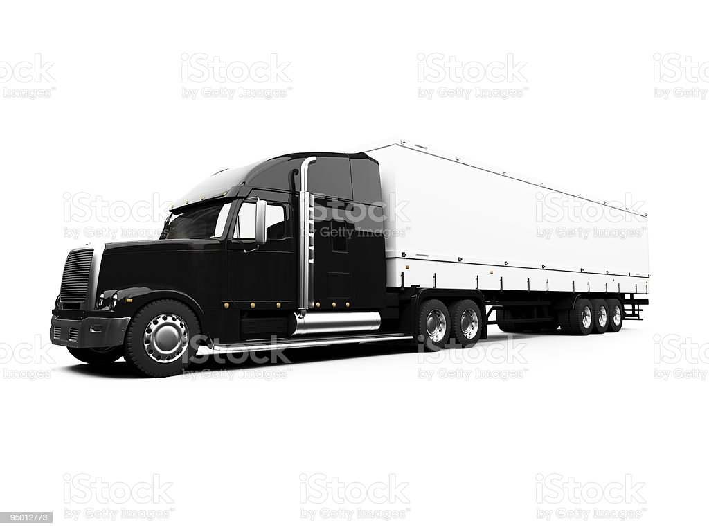 Black semi-truck isolated view vector art illustration