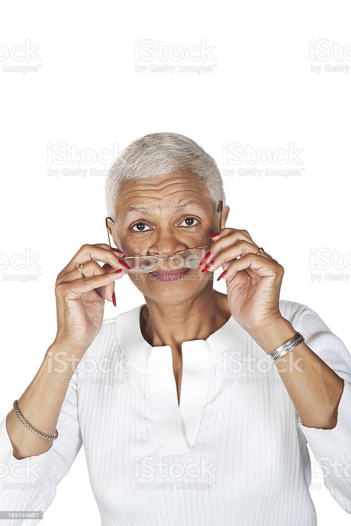 Black senior woman with glasses stock photo
