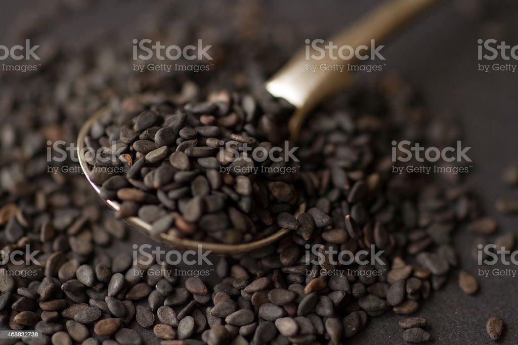 black sesame spices stock photo