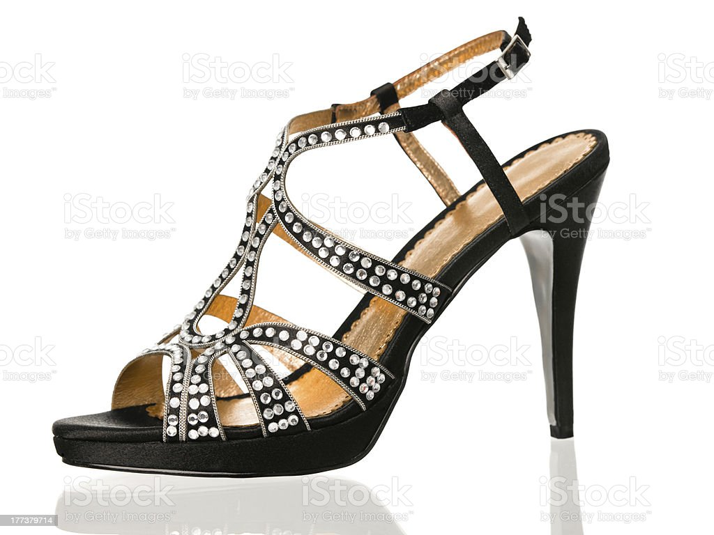 Black sexy high heels shoe side view stock photo