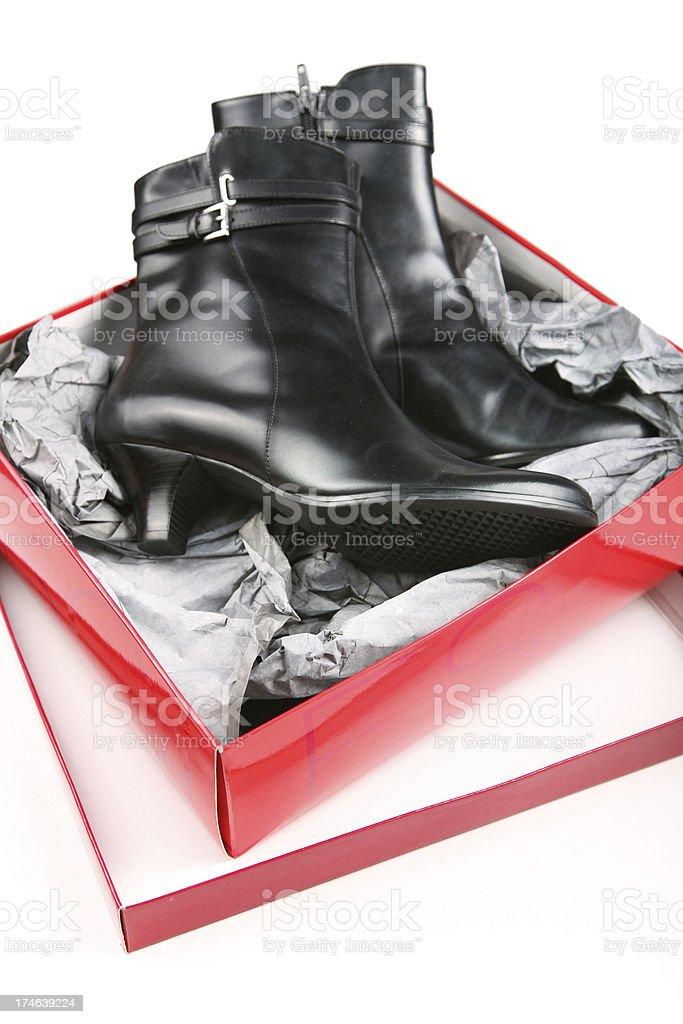 Black shiny boots stock photo