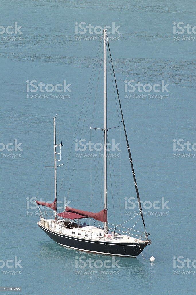 Black Ship Blue Water royalty-free stock photo