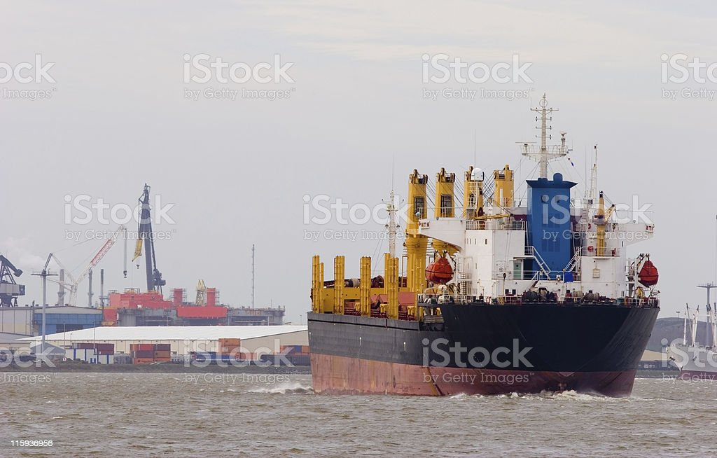 Black ship with harbor royalty-free stock photo