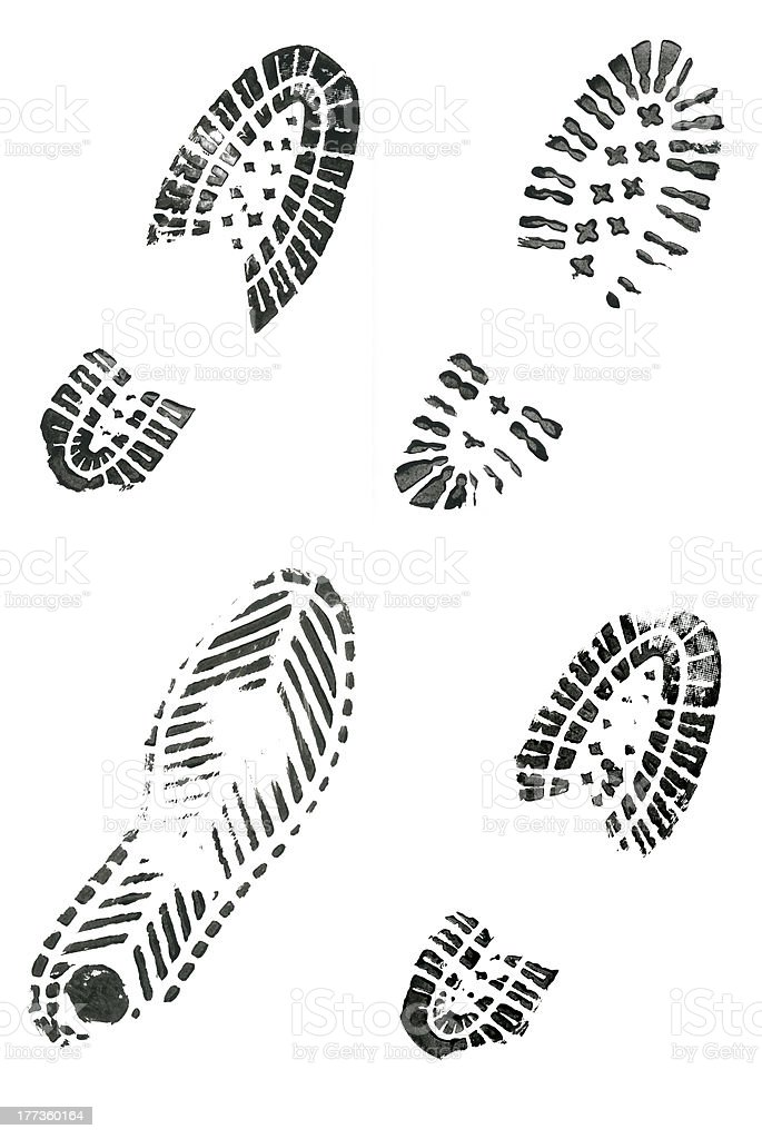 Black shoe prints stock photo