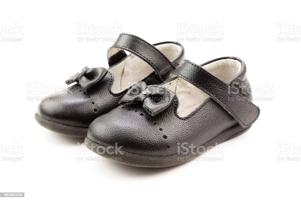 Black shoes for kids stock photo