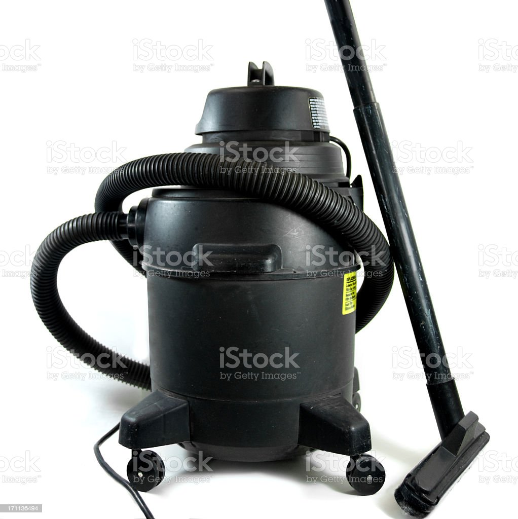Black Shop Vacuum on a White Background royalty-free stock photo