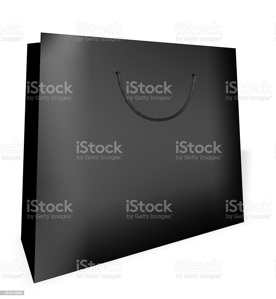 black shopping bag made from paper with blank string handle stock photo