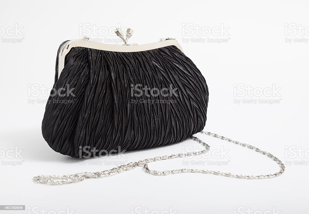 Black shoulder clutch back stock photo
