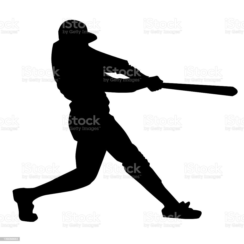 Black silhouette of a baseball player stock photo