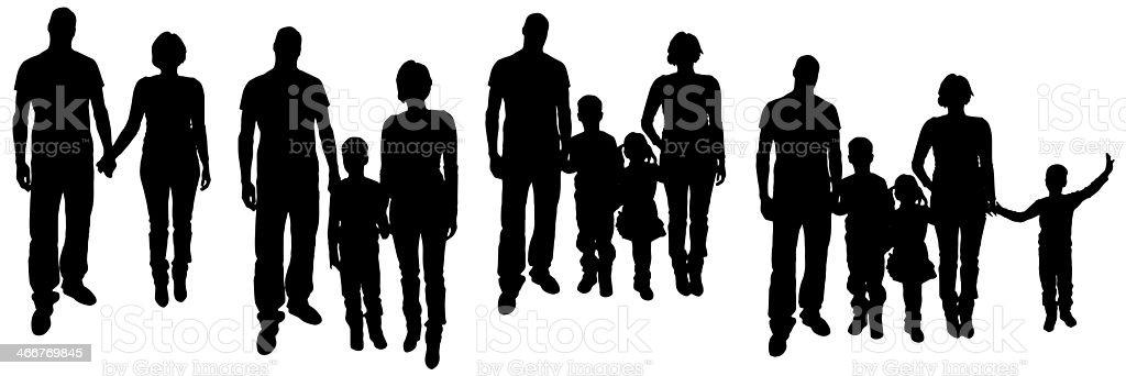 Black silhouettes of various families stock photo