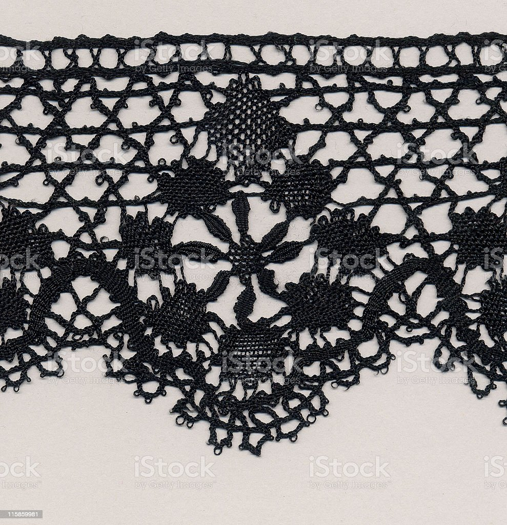 black silk needlelace lace royalty-free stock photo