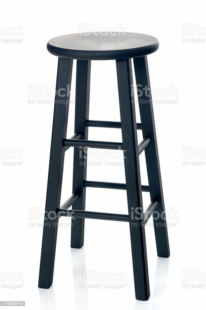 Black sitting stool on white background stock photo