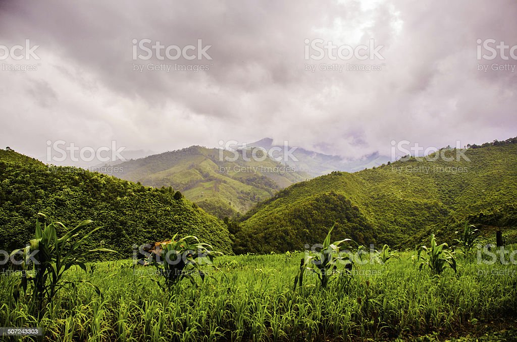black sky mountain stock photo