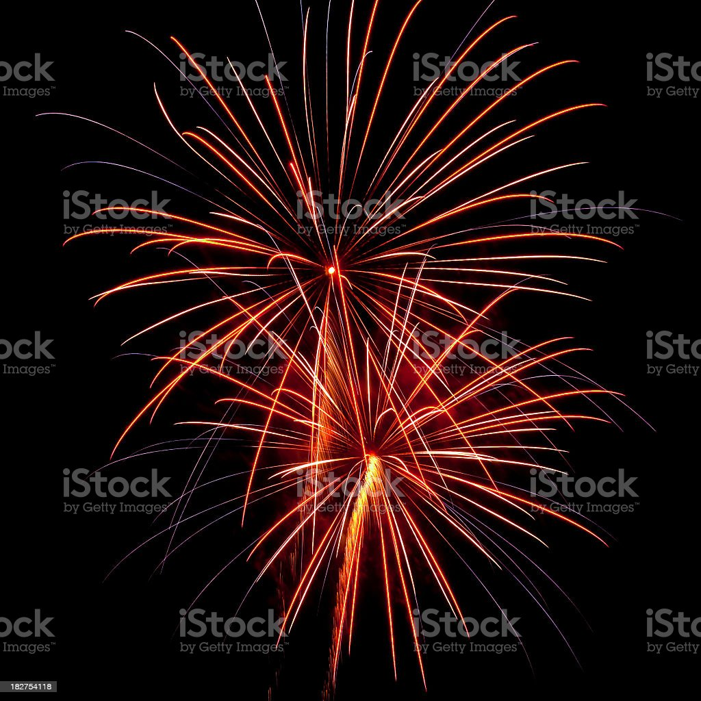 Black sky with exploding fireworks royalty-free stock photo