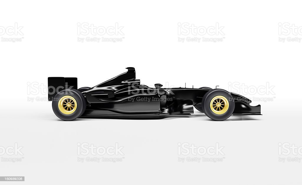 Black, sleek, Formula One Racing Car stock photo