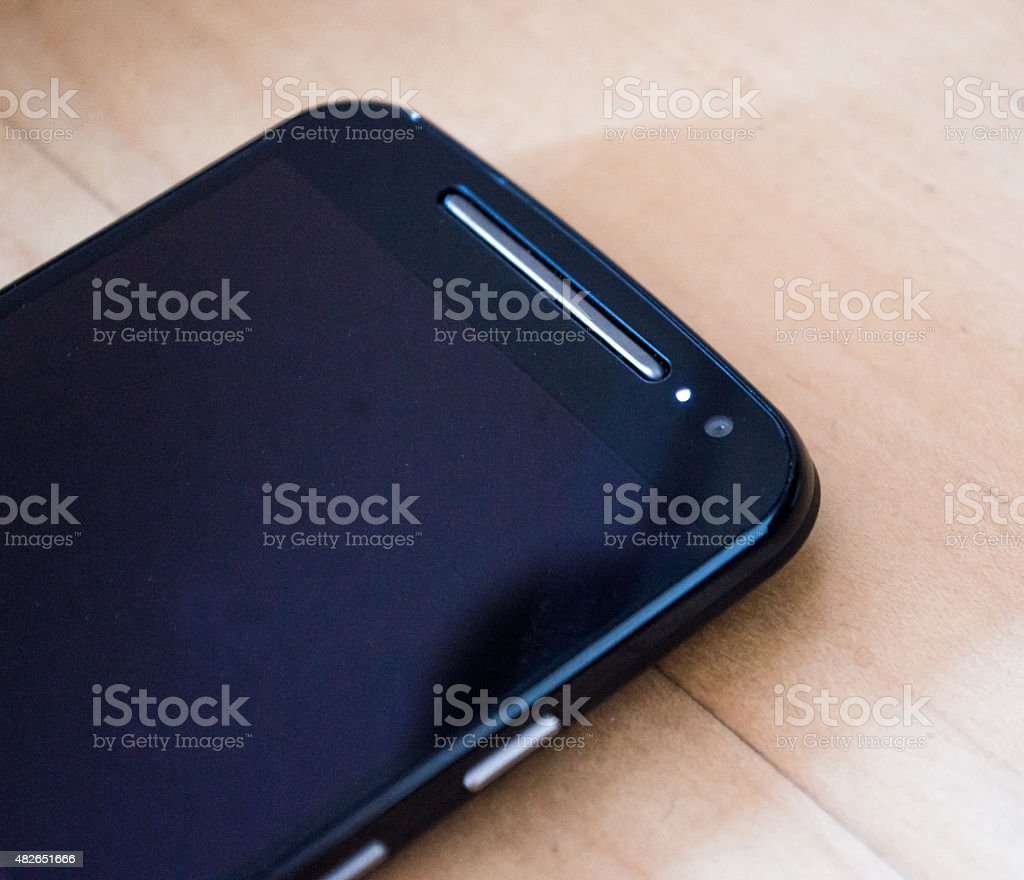 Black Smartphone Front Camera/Pulse Notification Light stock photo