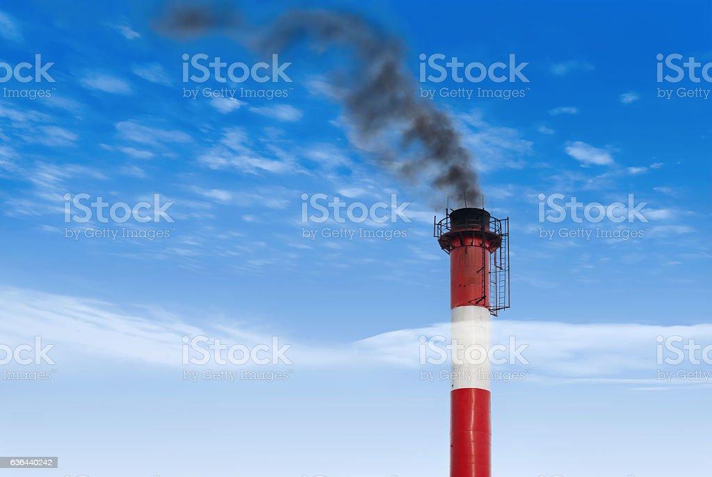 black smoke pollutes our environment stock photo