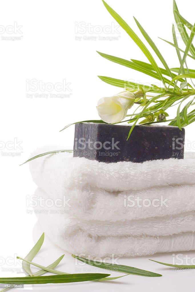 black soap on towel royalty-free stock photo