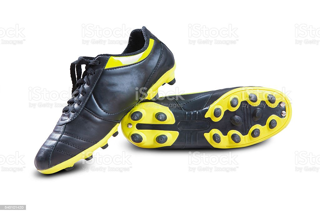 Black soccer shoes stock photo