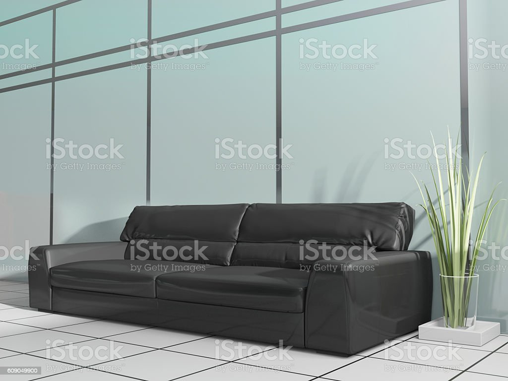 black sofa in modern interior stock photo
