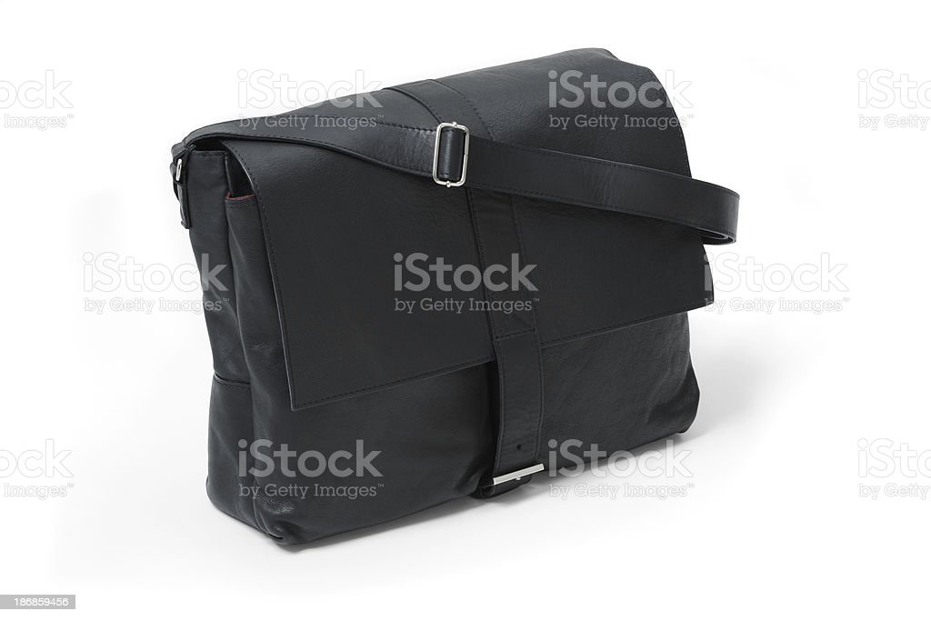 Black soft leather work men's bag, on white background stock photo