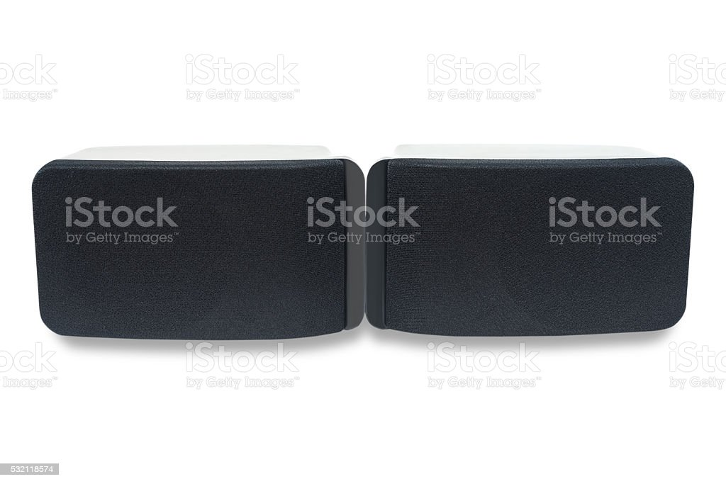 Black sound speaker isolated, Clipping path stock photo