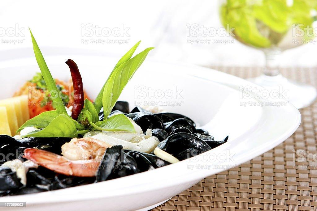Black Spaghetti with shimp stock photo