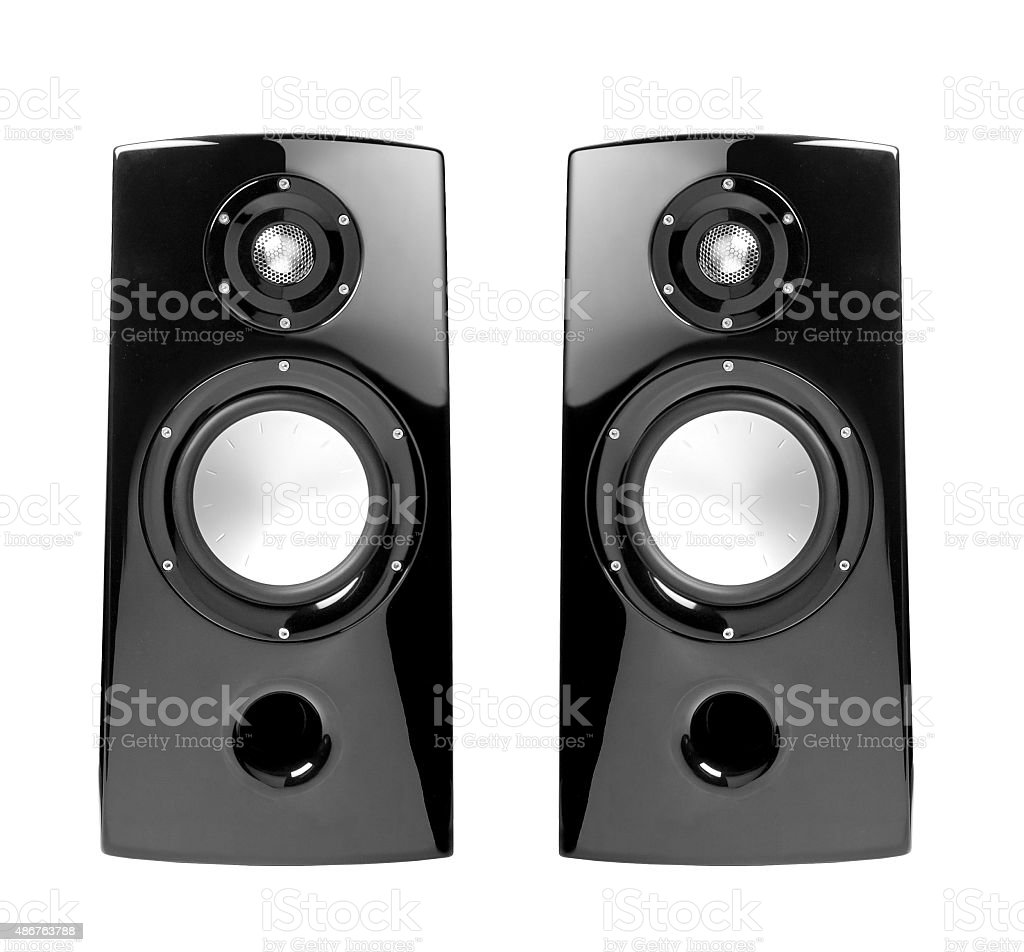 black speakers with sphere stock photo