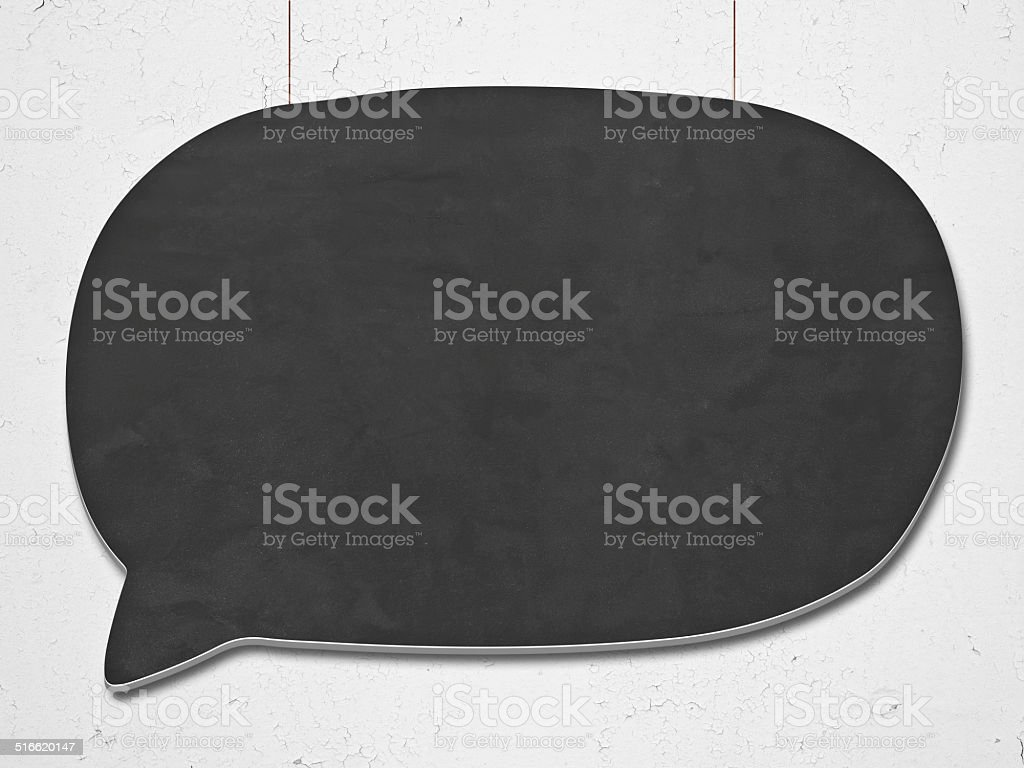 black speech bubble hanging on the wall stock photo