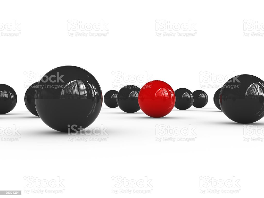 Black Spheres and One Red royalty-free stock photo