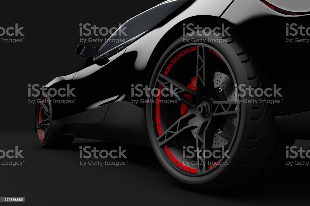 Black sport car on dark background stock photo