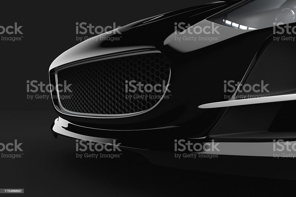 Black sport car on dark background stock photo