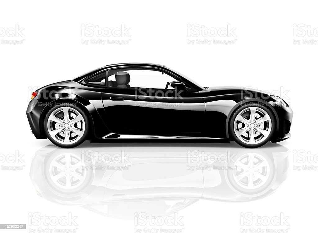3D Black Sport Car on White Background royalty-free stock photo