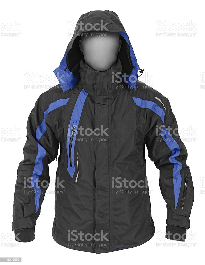Black sport jacket with hood stock photo