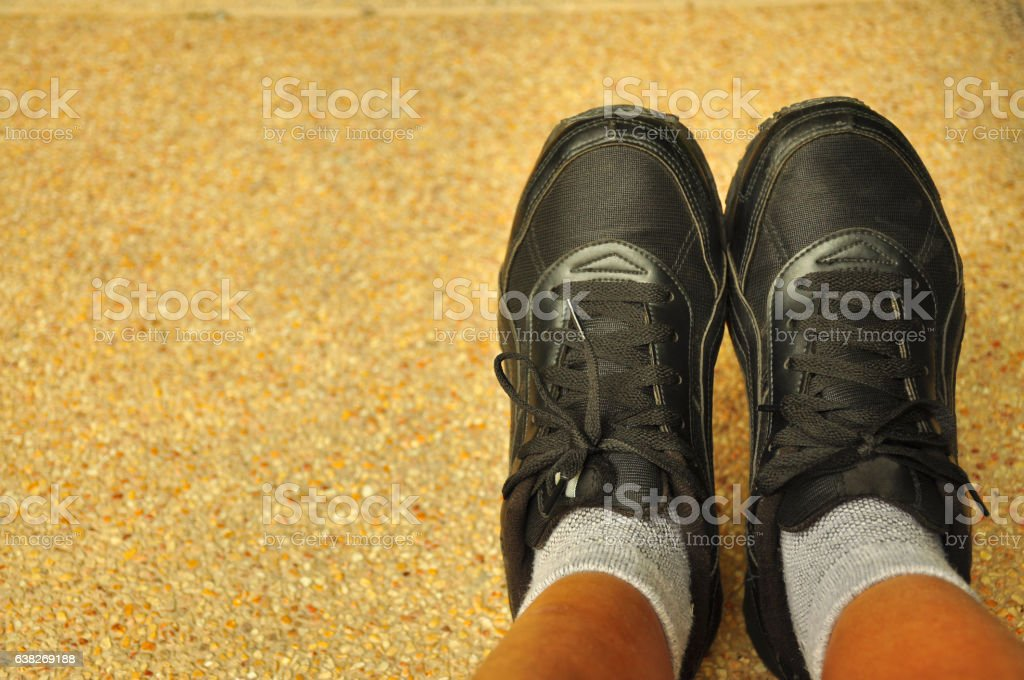 Black sport shoes stock photo
