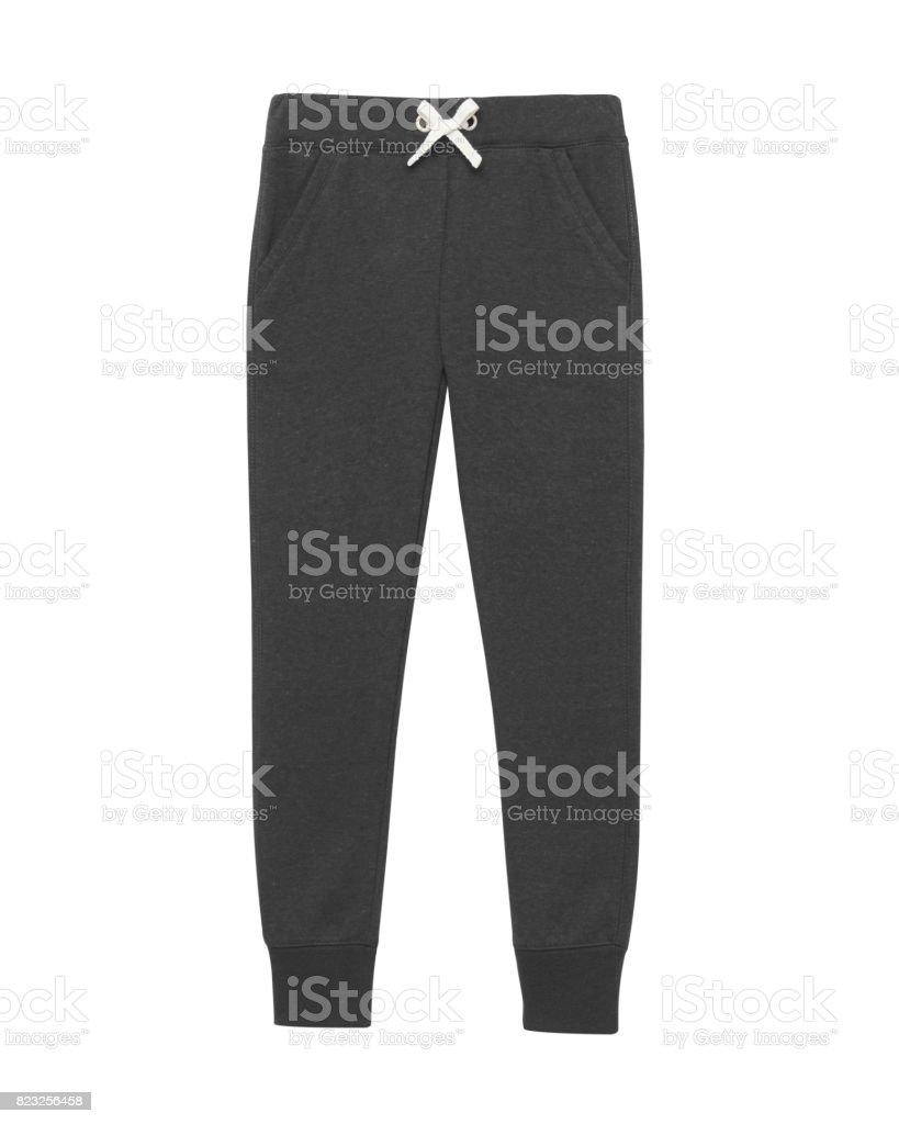 Black sport sweatpants isolated white stock photo