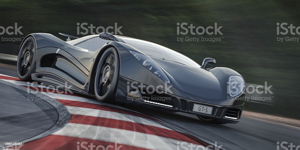 Black Sports Car on a Racetrack royalty-free stock photo