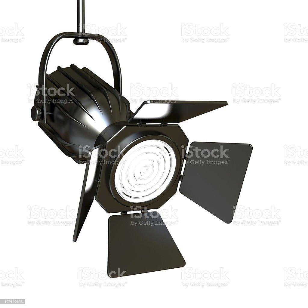 Black spotlight on white background stock photo