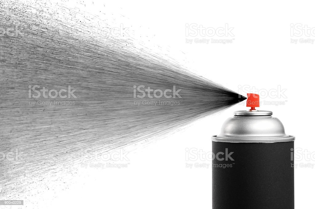 A black spray can spraying black royalty-free stock photo