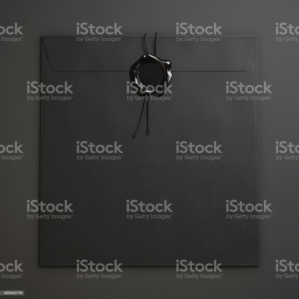 Black square envelope  with wax seal stock photo