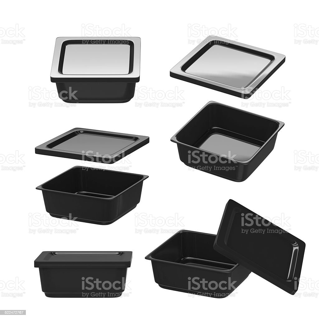 Black square plastic container for food production with clipping path stock photo