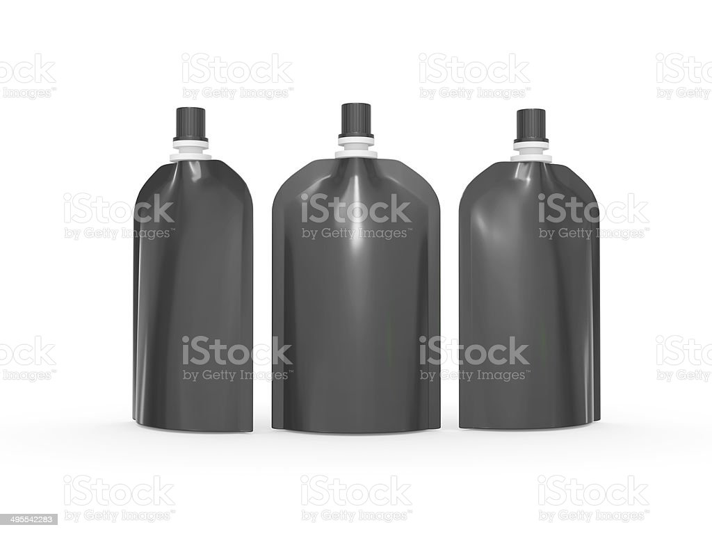 Black  stand up  bag packaging with cap and  clipping path stock photo