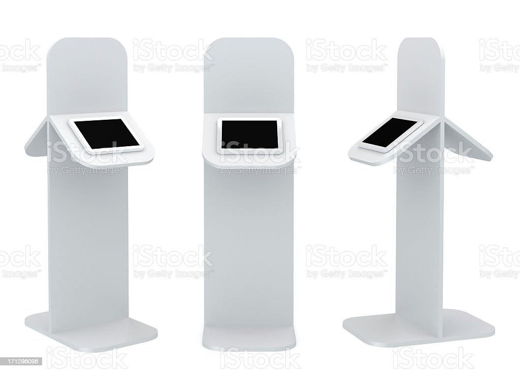 Black standing platform with tablet display stock photo