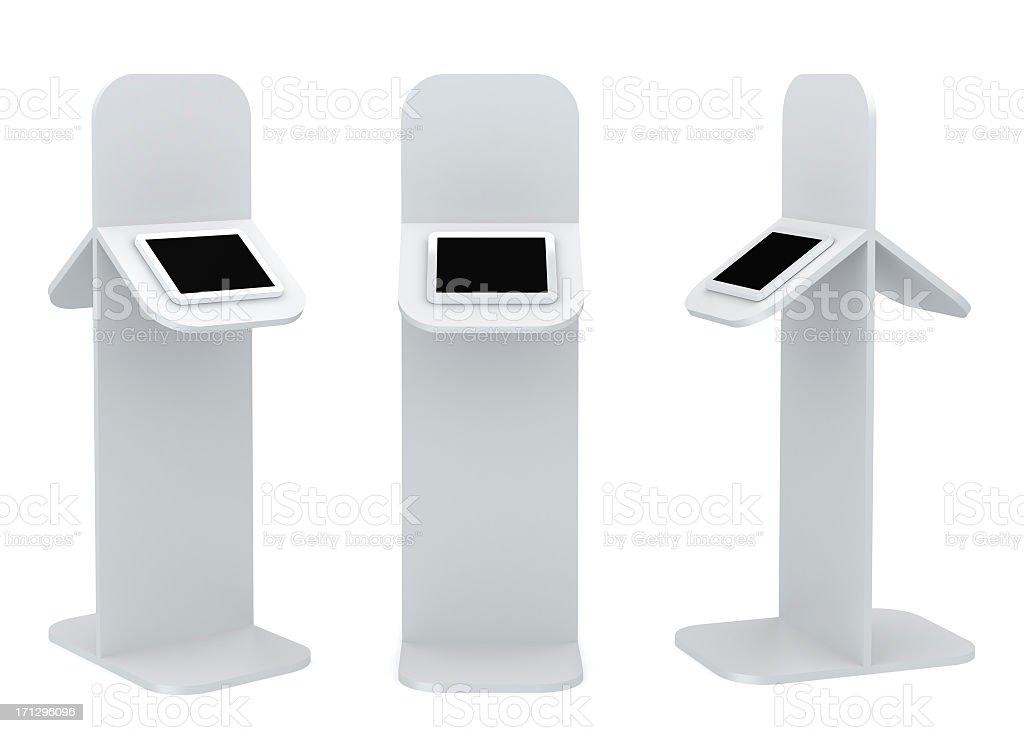 Black standing platform with tablet display stock photo