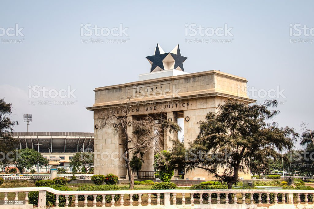 Black star arch in Accra, Ghana stock photo